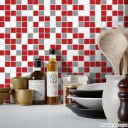 Adesivo Destacável Pastilha para Cozinha Mix Vermelho e Cinza