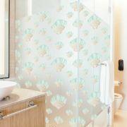 Queima de Estoque - Adesivo Para Vidro Box Banheiro Jateado Decorado Conchas Prova D'Agua