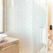 Adesivo Para Vidro Box Banheiro Jateado Decorado Cubos prova D'Agua