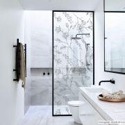 Adesivo Para Vidro Box Banheiro Jateado Decorado Delicado D'Agua