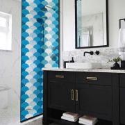 Queima de Estoque - Adesivo Para Vidro Box Banheiro Jateado Decorado Escama Prova D'Agua