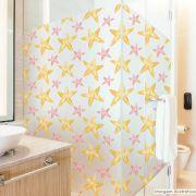 Adesivo Para Vidro Box Banheiro Jateado Decorado Estrelas prova D'Agua