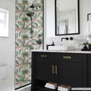 Adesivo Para Vidro Box Banheiro Jateado Decorado Folhagem Prova D'Agua