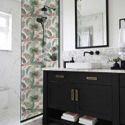 Queima de Estoque - Adesivo Para Vidro Box Banheiro Jateado Decorado Folhagem Prova D'Agua