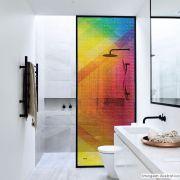 Adesivo Para Vidro Box Banheiro Jateado Decorado Prisma Prova D'Agua