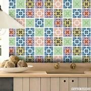 Promoção - Adesivo Destacável Azulejo para Cozinha Berga Coral 15x15cm