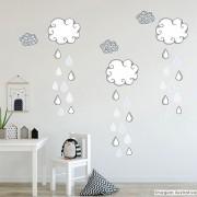 Promoção -  Adesivo Destacável Nuvens com Gotas Azul