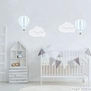 Promoção   - Adesivo Destacável Nuvens e Balões Azul e Branco