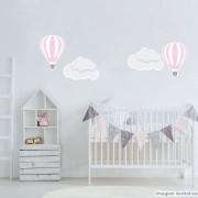 Promoção  - Adesivo Destacável Nuvens e Balões Rosa e Branco
