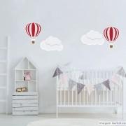 Promoção - Adesivo Destacável Nuvens e Balões Vermelho
