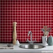 Promoção  - Adesivo Destacável Pastilha para Cozinha 3D Vermelho Escuro 20x20cm