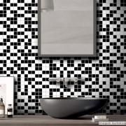 Black November - Adesivo Destacável Pastilha para Cozinha Clássica Mix Branco e Preto 15x15cm