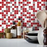 Promoção   - Adesivo Destacável Pastilha para Cozinha Mix Vermelho e Cinza 15x15cm