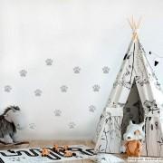 Promoção   - Adesivo Destacável Patas de Cachorro Cinza