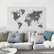 Black November - Painel Adesivo Mapa Mundi