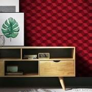 Promoção   - Papel de Parede 3D Cubo Classic Vermelho