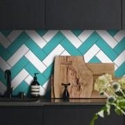Promoção  - Papel de Parede Azulejo para Cozinha Chevron Turquesa