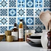 Black November - Papel de Parede Azulejo para Cozinha Manresa Azul