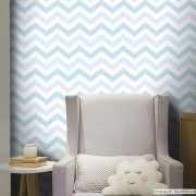 Black November - Papel de Parede Chevron Mix Azul