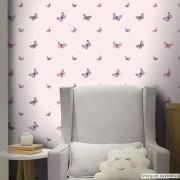 Promoção  - Papel de Parede Infantil Borboletas Rosa - Kit 02 rolos