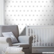 Promoção - Papel de Parede Infantil Estrelas Branco - Kit 04 rolos
