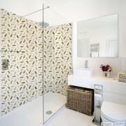Promoção   - Papel de Parede Lavável para Banheiro Revestimento Madeira Geométrico