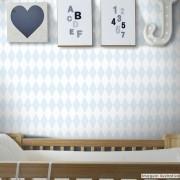 Promoção  - Papel de Parede Losango Soft Azul Claro