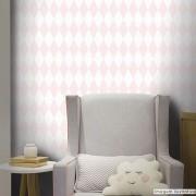 Promoção  - Papel de Parede Losango Soft Rosa Claro