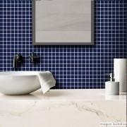 Promoção  - Papel de Parede Pastilha para Cozinha Clássica  Azul Marinho