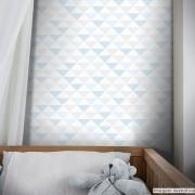 Promoção  - Papel de Parede Triângulo Clear Azul e Cinza