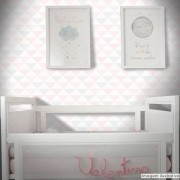 Promoção - Papel de Parede Triângulo Clear Rosa e Cinza