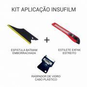Kit de Aplicação de Insulfilm - Espátula + Estilete + Raspador de Vidro