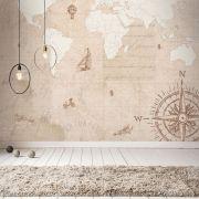 Queima de Estoque - Mural Mapa Mundi Vintage 3,48 x 3,00m