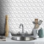 Outlet - Papel de Parede 3D Triângulo Classic Branco 0,58x1,70m