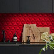 Outlet - Papel de Parede 3D Triângulo Classic Vermelho 0,58x2,70m