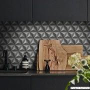 Outlet - Papel de Parede 3D Triangulo Grafite 0,58 x 2,90m