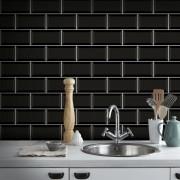 Outlet - Papel de Parede Azulejo para Cozinha Metrô Preto 0,58x2,70m
