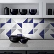 Promoção - Papel de Parede Azulejo para Cozinha Retângulo Azul