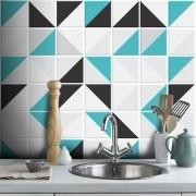 Outlet- Papel de Parede Azulejo Para Cozinha Retângulo Turquesa 0,58x2,60m