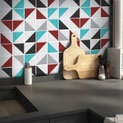 Outlet - Papel de Parede Azulejo para Cozinha Retângulo Vermelho 0,58X2,80