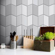 Outlet - Papel de Parede Azulejo para Cozinha Tile Cinza 0,58x1,70m