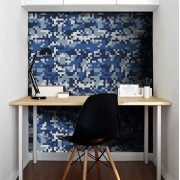 Outlet - Papel de Parede Camuflado Pixel Azul 0,58X2,40m