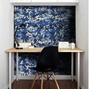 Outlet - Papel de Parede Camuflado Pixel Azul 0,58x2,66m