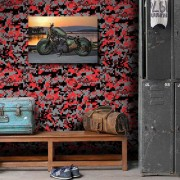 Outlet- Papel de Parede Camuflado Vermelho 0,58 x 2,80m