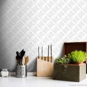Outlet - Papel de Parede Círculos 3D Branco 0,58x2,60m