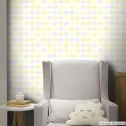 Outlet - Papel de Parede Flake Clear Amarelo e Cinza 0,58x2,60m