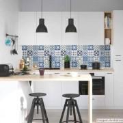 Outlet -Papel de Parede Lavavel para Banheiro Cozinha Revestimento Brilho Azulejo Lusitania 0,35x1,00m