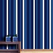 Outlet - Papel de Parede Listras Médias Soft Azul Marinho 0,58x1,90m