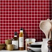 Outlet- Papel de Parede Pastilha para Cozinha 3D vermelho 0,56x3,00m