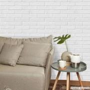 Outlet - Papel de Parede Tijolo Frisado Branco 0,58 x 2,70m